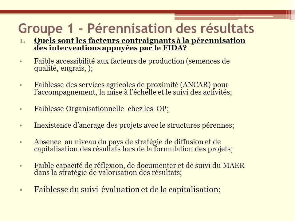 Groupe 1 – Pérennisation des résultats 1.Quels sont les facteurs contraignants à la pérennisation des interventions appuyées par le FIDA? Faible acces