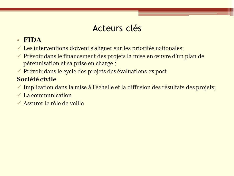 Acteurs clés FIDA Les interventions doivent saligner sur les priorités nationales; Prévoir dans le financement des projets la mise en œuvre dun plan de pérennisation et sa prise en charge ; Prévoir dans le cycle des projets des évaluations ex post.
