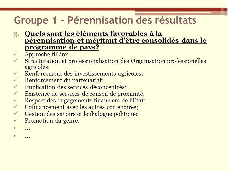 Groupe 1 – Pérennisation des résultats 3.Quels sont les éléments favorables à la pérennisation et méritant dêtre consolidés dans le programme de pays?