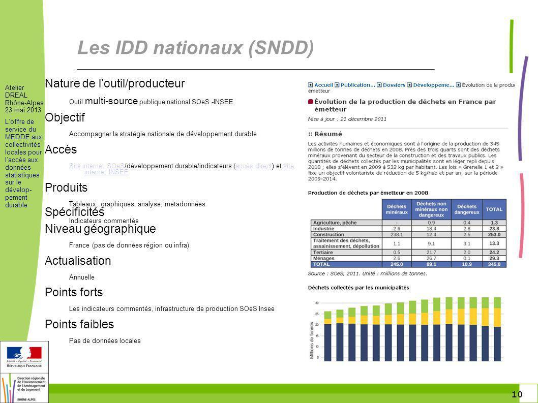 10 Atelier DREAL Rhône-Alpes 23 mai 2013 Loffre de service du MEDDE aux collectivités locales pour laccès aux données statistiques sur le dévelop- pem
