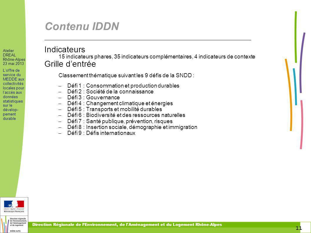 11 Atelier DREAL Rhône-Alpes 23 mai 2013 Loffre de service du MEDDE aux collectivités locales pour laccès aux données statistiques sur le dévelop- pem