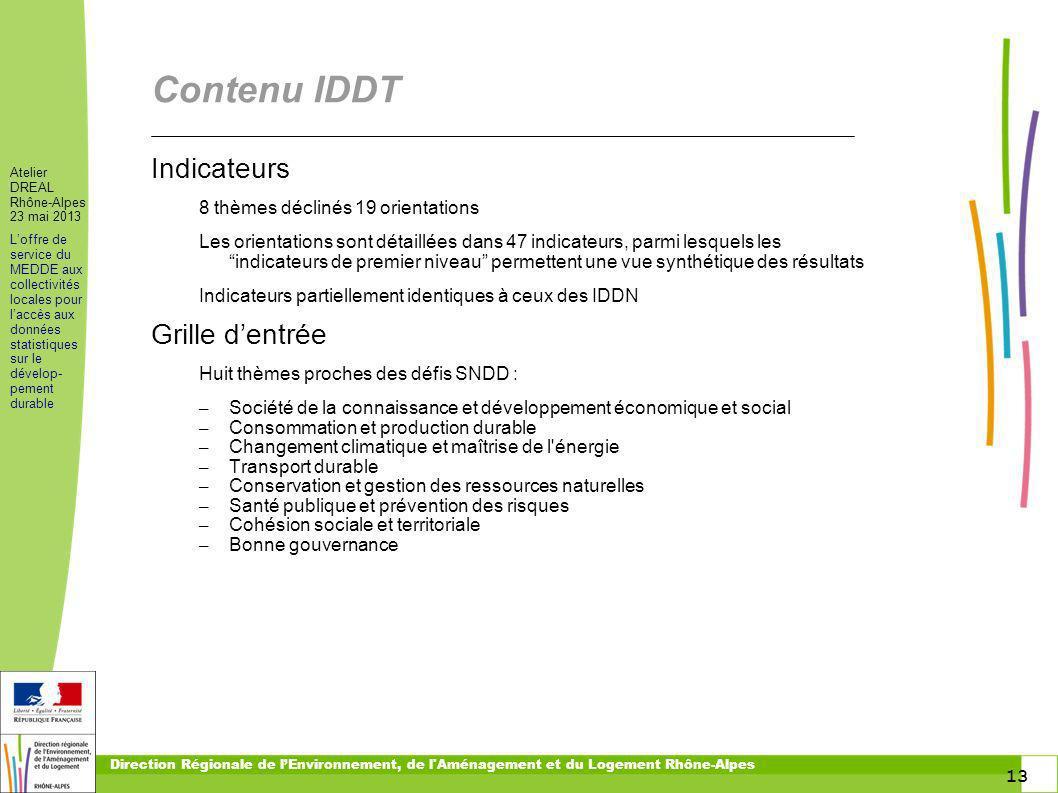 13 Atelier DREAL Rhône-Alpes 23 mai 2013 Loffre de service du MEDDE aux collectivités locales pour laccès aux données statistiques sur le dévelop- pem