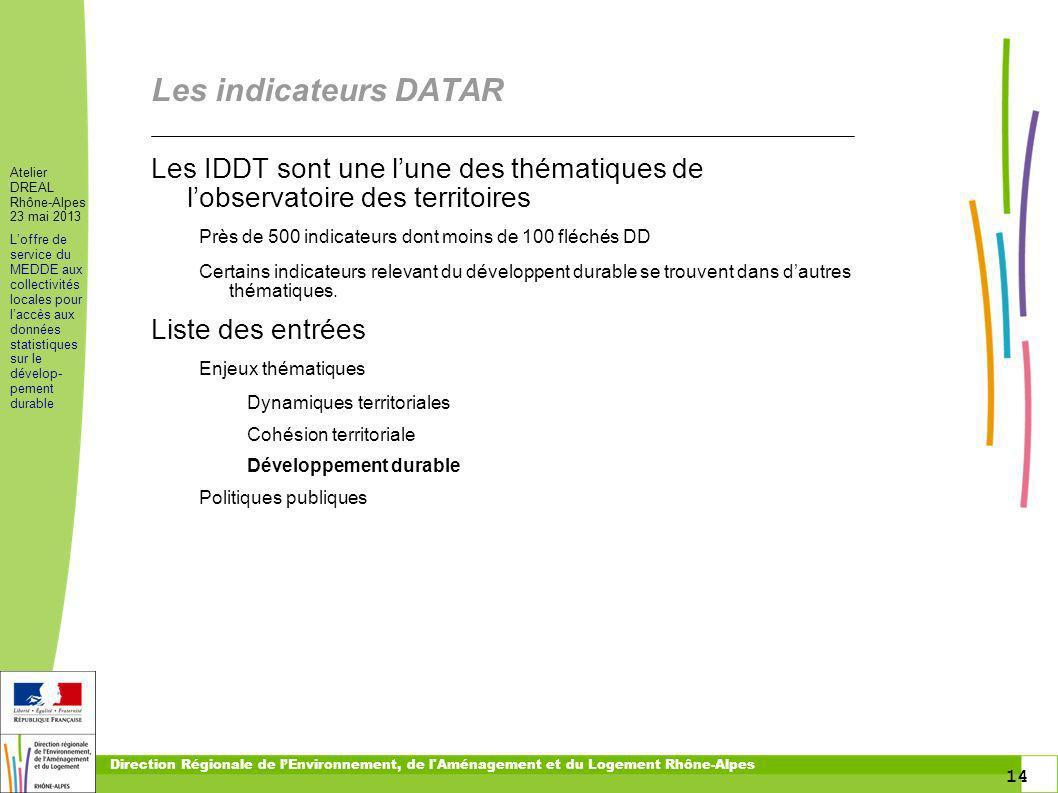 14 Atelier DREAL Rhône-Alpes 23 mai 2013 Loffre de service du MEDDE aux collectivités locales pour laccès aux données statistiques sur le dévelop- pem