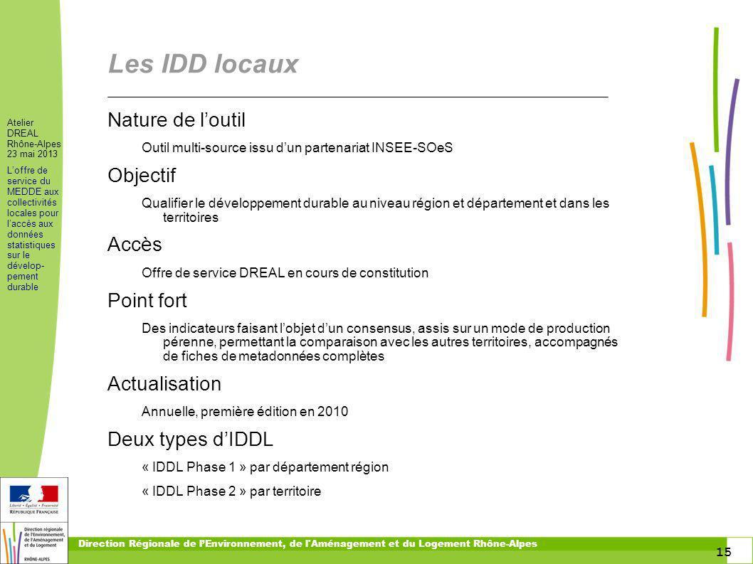 15 Atelier DREAL Rhône-Alpes 23 mai 2013 Loffre de service du MEDDE aux collectivités locales pour laccès aux données statistiques sur le dévelop- pem