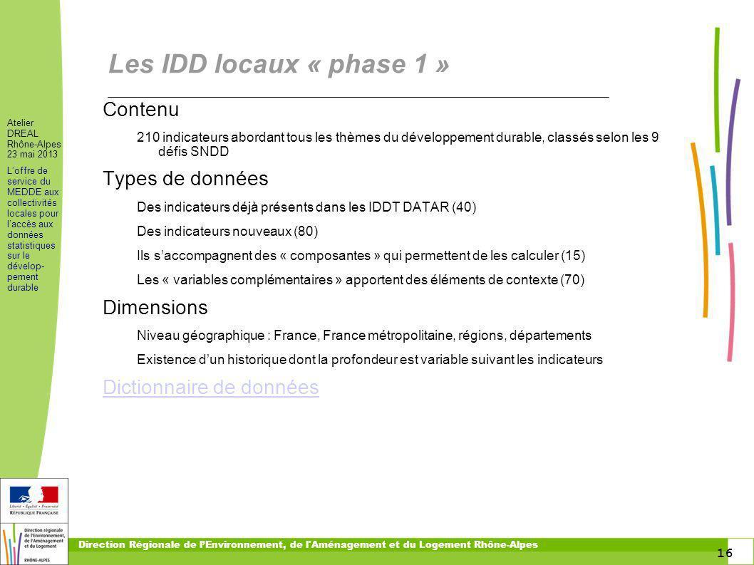 16 Atelier DREAL Rhône-Alpes 23 mai 2013 Loffre de service du MEDDE aux collectivités locales pour laccès aux données statistiques sur le dévelop- pem
