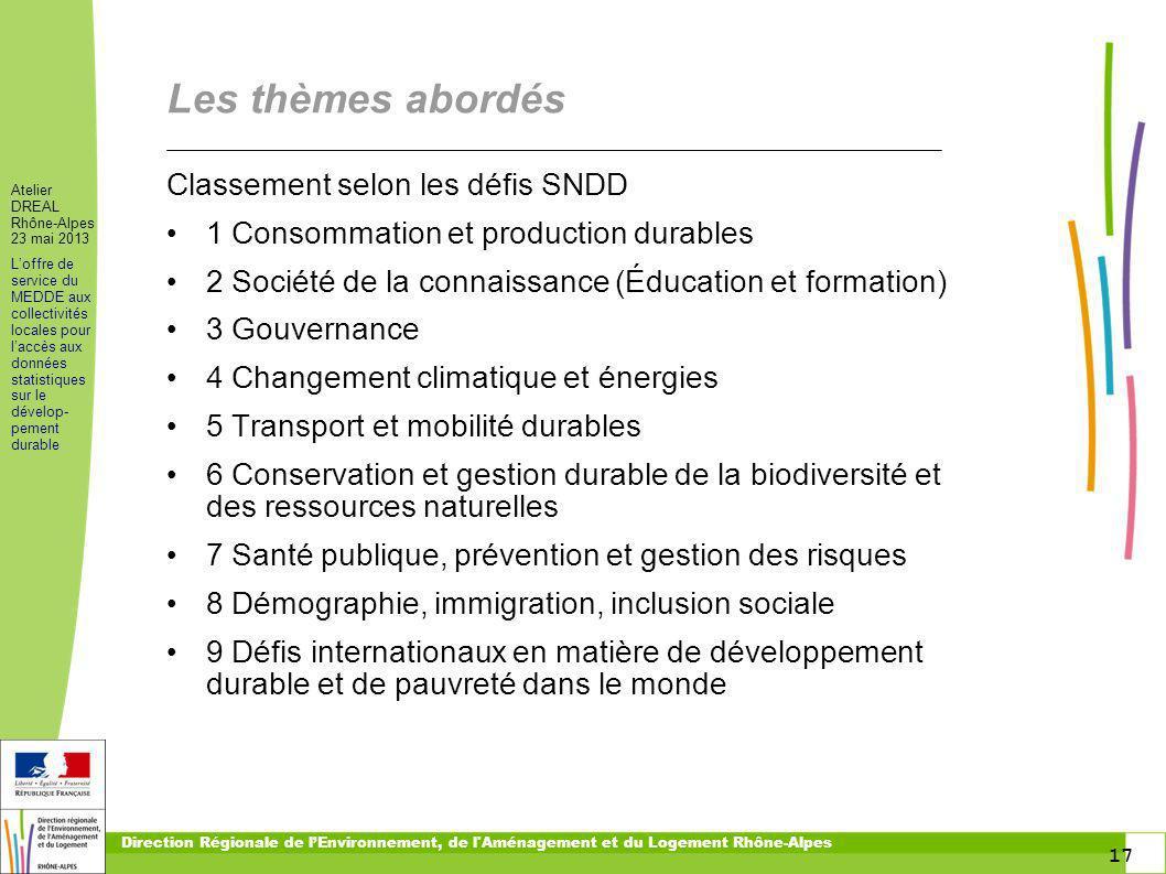17 Atelier DREAL Rhône-Alpes 23 mai 2013 Loffre de service du MEDDE aux collectivités locales pour laccès aux données statistiques sur le dévelop- pem
