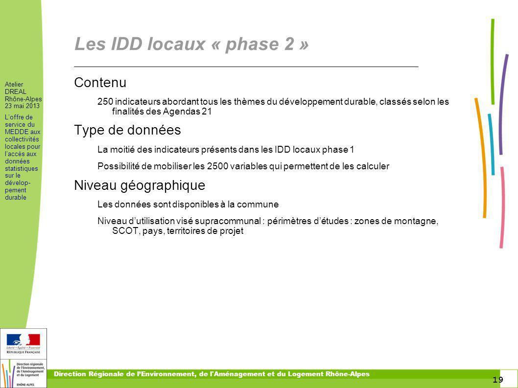 19 Atelier DREAL Rhône-Alpes 23 mai 2013 Loffre de service du MEDDE aux collectivités locales pour laccès aux données statistiques sur le dévelop- pem