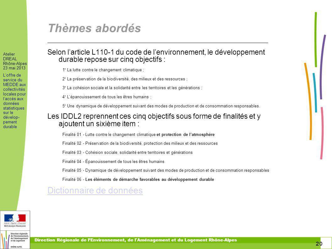 20 Atelier DREAL Rhône-Alpes 23 mai 2013 Loffre de service du MEDDE aux collectivités locales pour laccès aux données statistiques sur le dévelop- pem