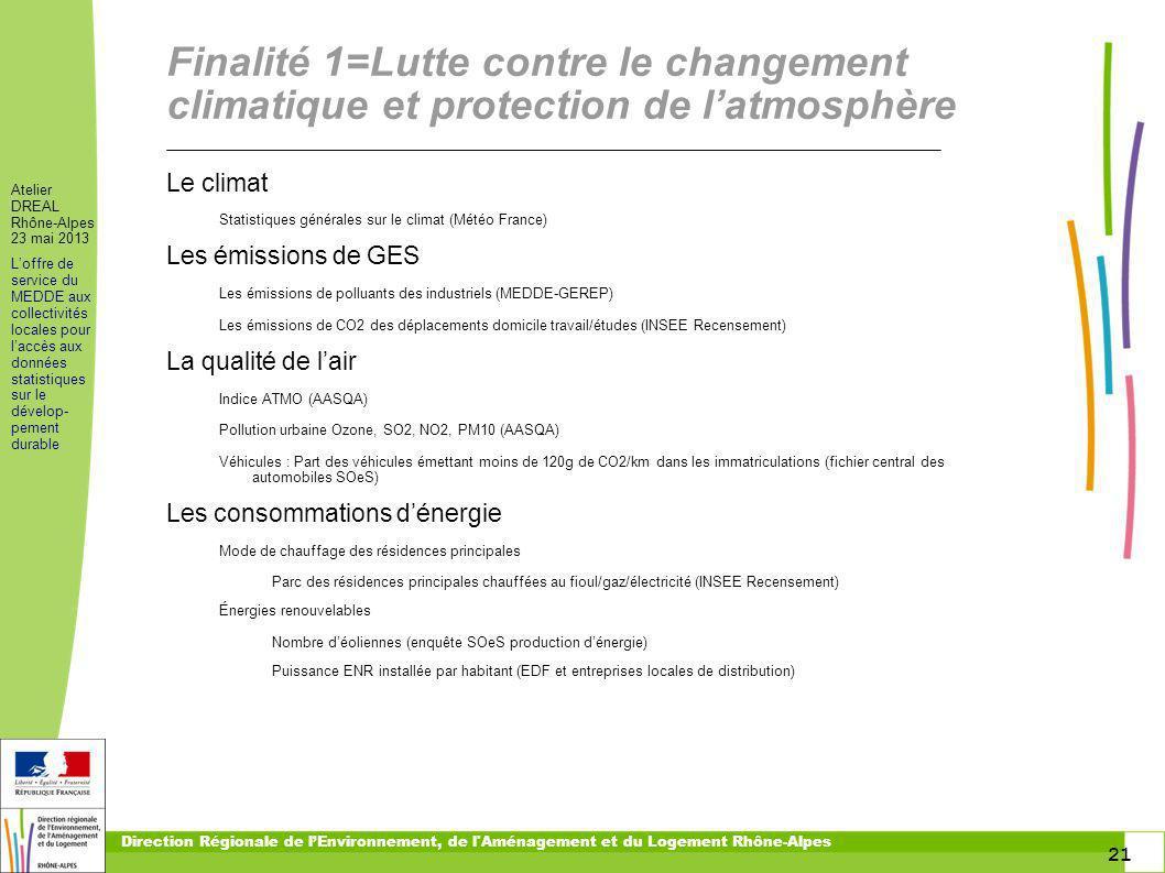 21 Atelier DREAL Rhône-Alpes 23 mai 2013 Loffre de service du MEDDE aux collectivités locales pour laccès aux données statistiques sur le dévelop- pem