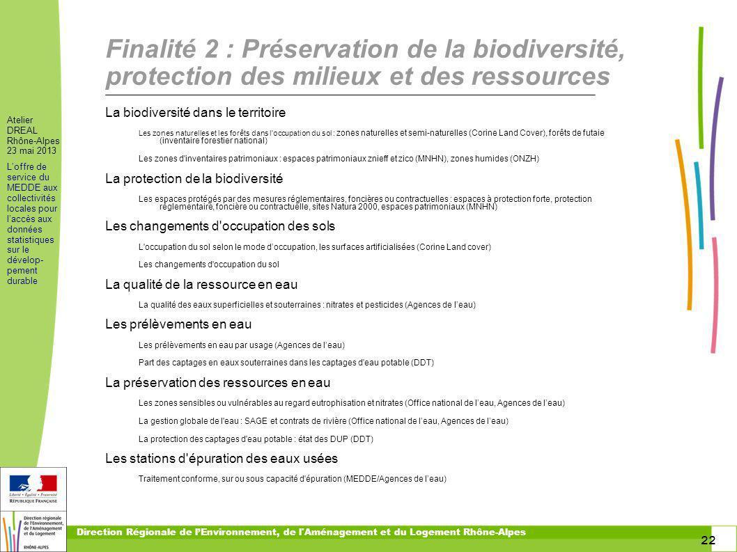 22 Atelier DREAL Rhône-Alpes 23 mai 2013 Loffre de service du MEDDE aux collectivités locales pour laccès aux données statistiques sur le dévelop- pem