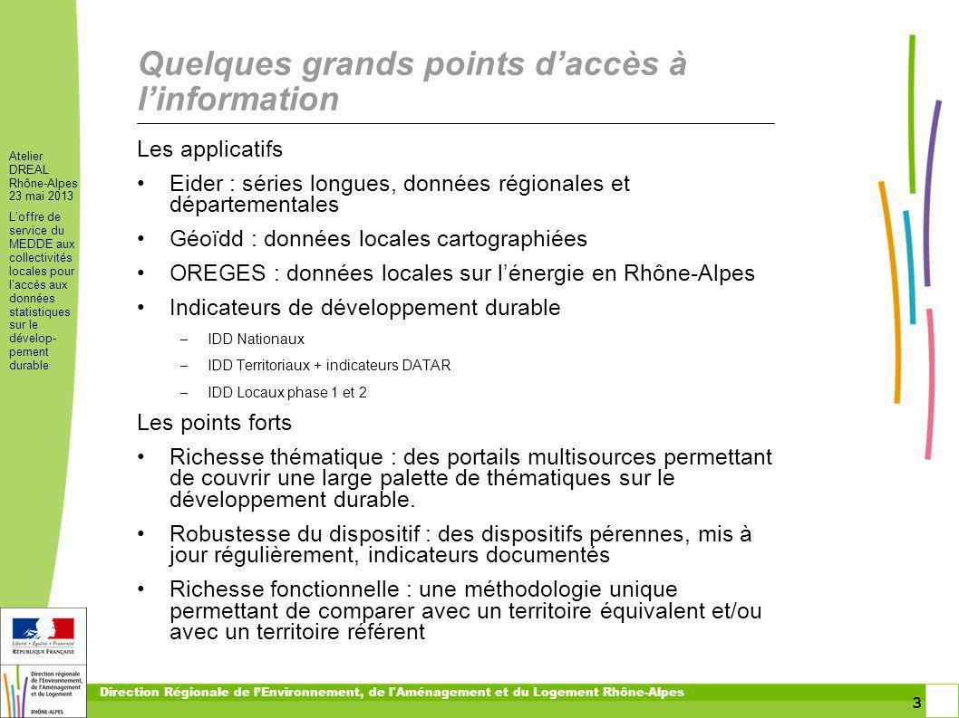 3 3 Atelier DREAL Rhône-Alpes 23 mai 2013 Loffre de service du MEDDE aux collectivités locales pour laccès aux données statistiques sur le dévelop- pe