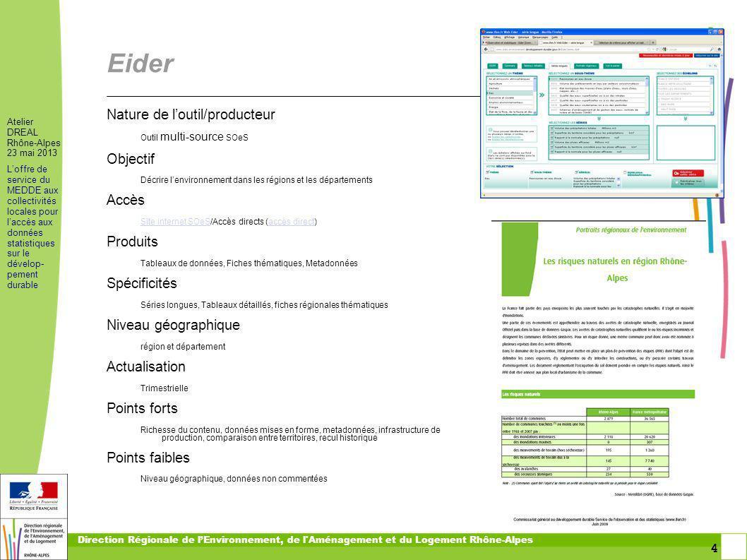 4 4 Atelier DREAL Rhône-Alpes 23 mai 2013 Loffre de service du MEDDE aux collectivités locales pour laccès aux données statistiques sur le dévelop- pe