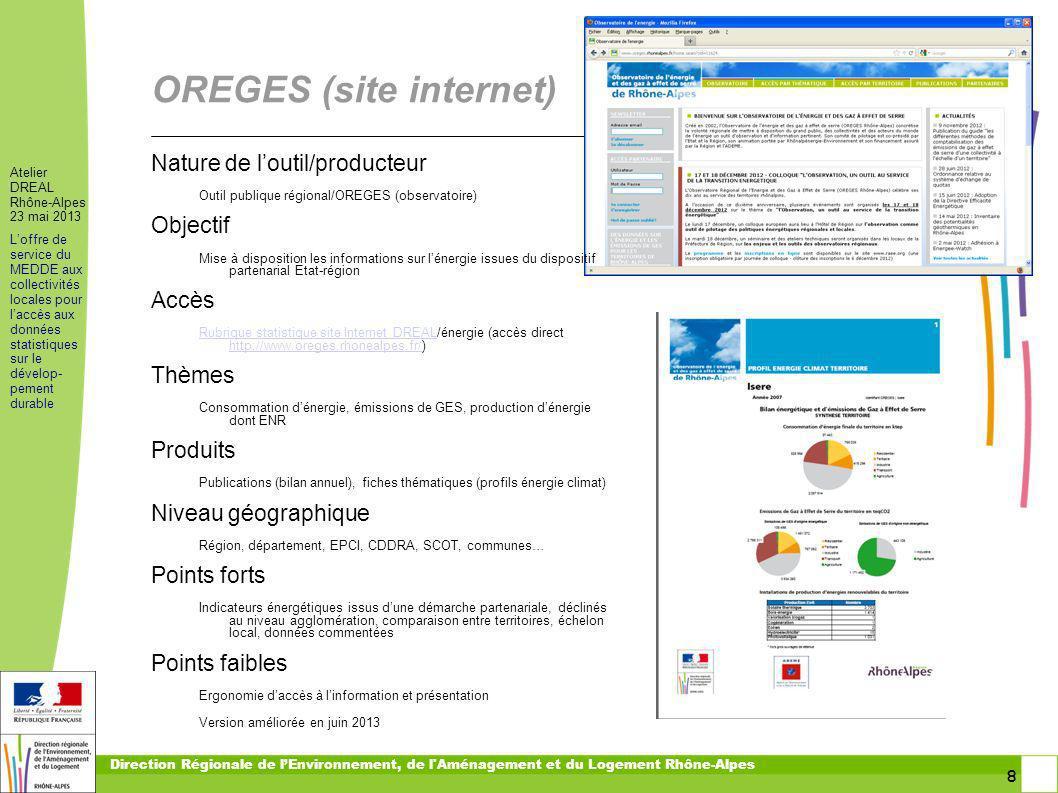 9 9 Atelier DREAL Rhône-Alpes 23 mai 2013 Loffre de service du MEDDE aux collectivités locales pour laccès aux données statistiques sur le dévelop- pement durable Direction Régionale de lEnvironnement, de l Aménagement et du Logement Rhône-Alpes Indicateurs de développement durable De quoi parle-t-on .