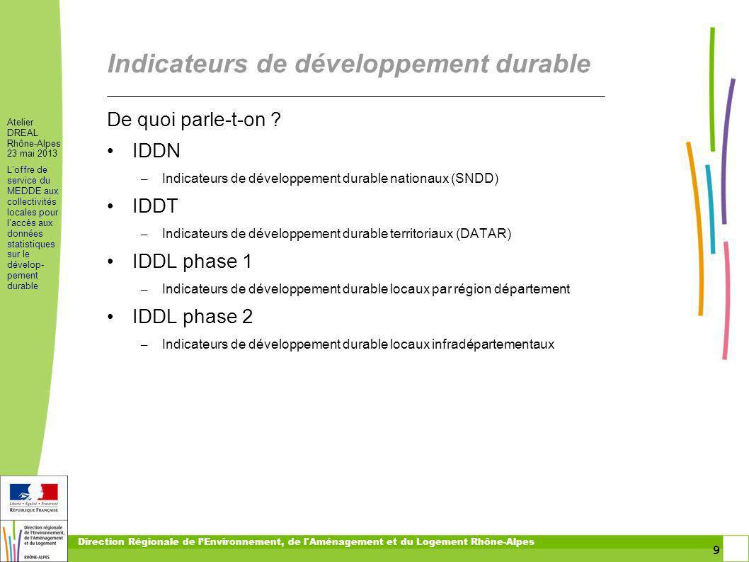9 9 Atelier DREAL Rhône-Alpes 23 mai 2013 Loffre de service du MEDDE aux collectivités locales pour laccès aux données statistiques sur le dévelop- pe