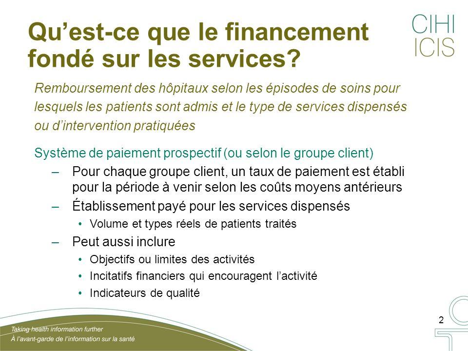2 Quest-ce que le financement fondé sur les services.