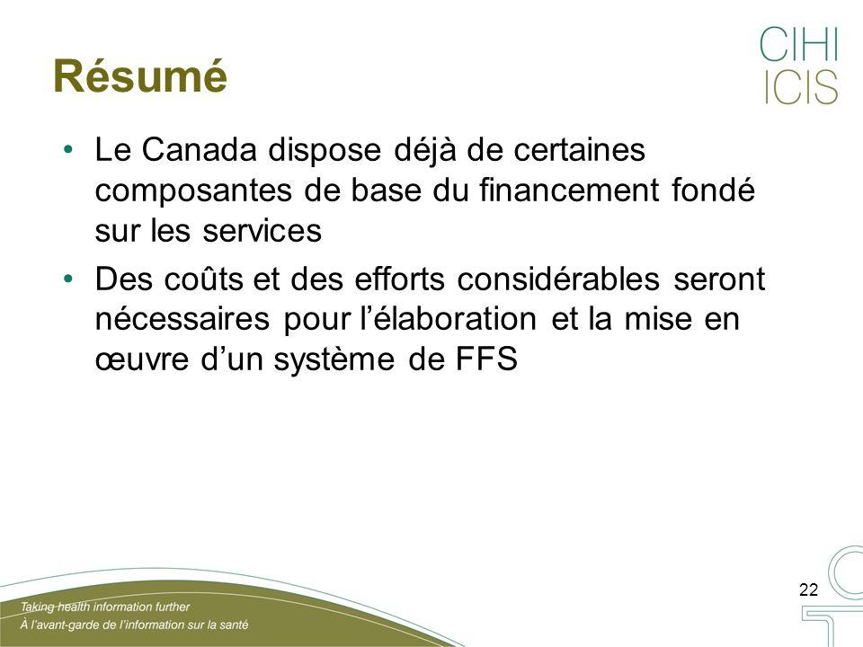 22 Résumé Le Canada dispose déjà de certaines composantes de base du financement fondé sur les services Des coûts et des efforts considérables seront nécessaires pour lélaboration et la mise en œuvre dun système de FFS