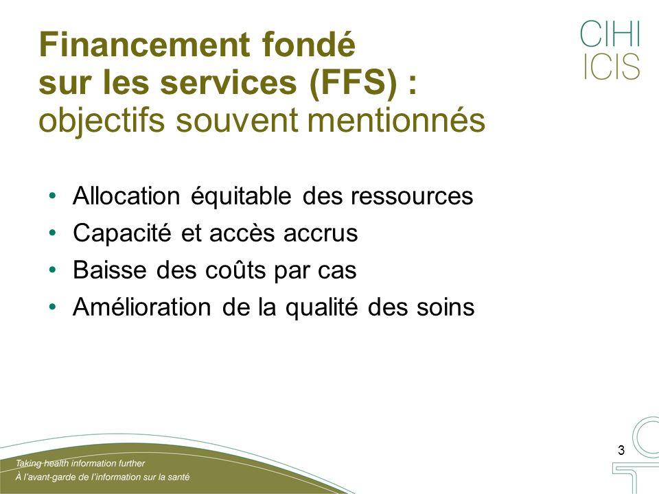 3 Financement fondé sur les services (FFS) : objectifs souvent mentionnés Allocation équitable des ressources Capacité et accès accrus Baisse des coûts par cas Amélioration de la qualité des soins