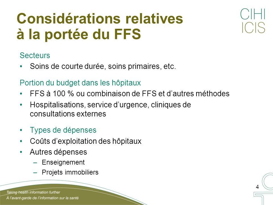 4 Considérations relatives à la portée du FFS Secteurs Soins de courte durée, soins primaires, etc.