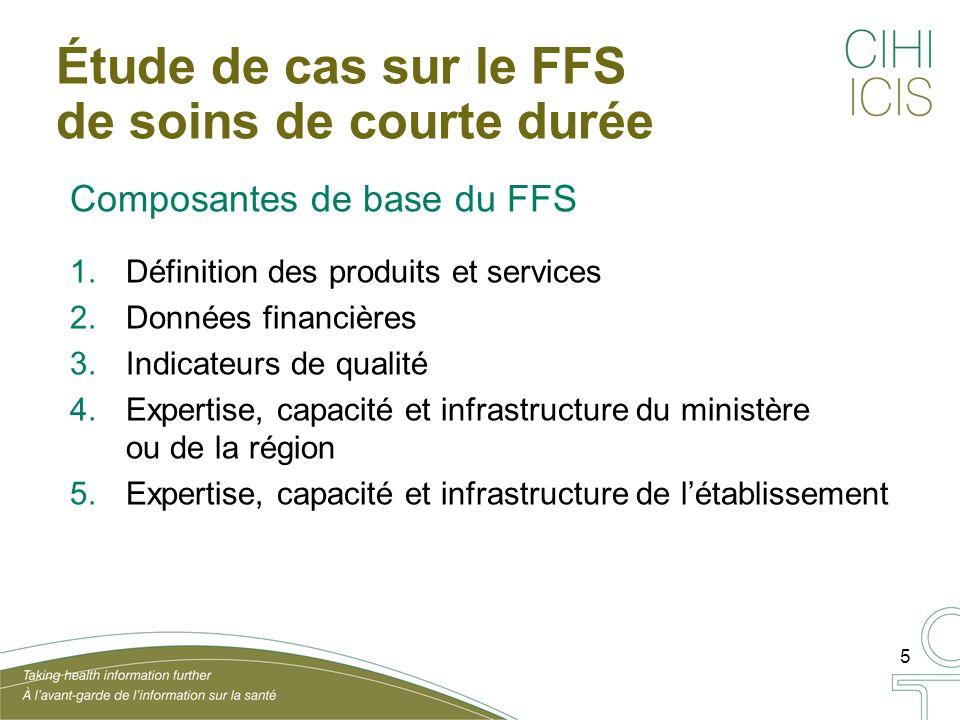 5 Étude de cas sur le FFS de soins de courte durée Composantes de base du FFS 1.Définition des produits et services 2.Données financières 3.Indicateurs de qualité 4.Expertise, capacité et infrastructure du ministère ou de la région 5.Expertise, capacité et infrastructure de létablissement