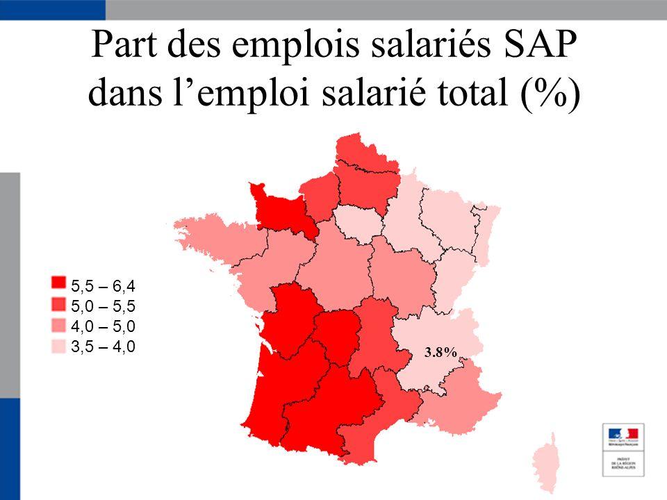 Part des emplois salariés SAP dans lemploi salarié total (%) 5,5 – 6,4 5,0 – 5,5 4,0 – 5,0 3,5 – 4,0 3.8%