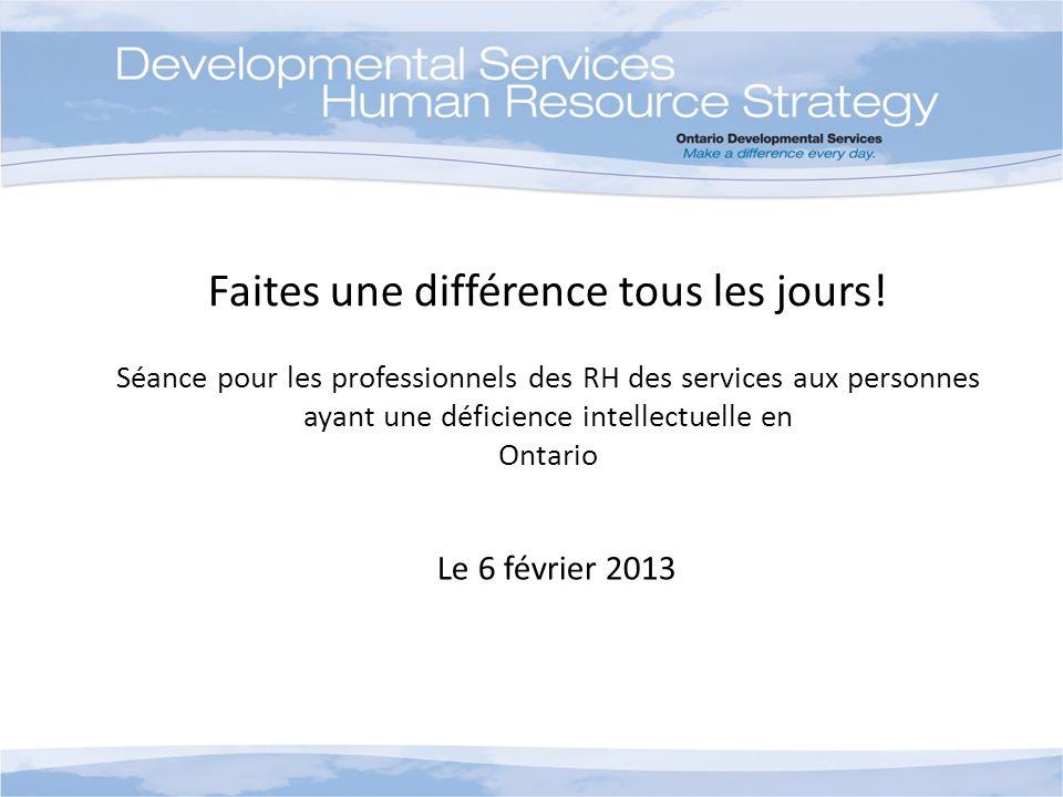Faites une différence tous les jours! Séance pour les professionnels des RH des services aux personnes ayant une déficience intellectuelle en Ontario