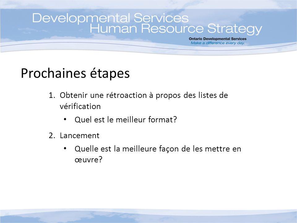 Prochaines étapes 1.Obtenir une rétroaction à propos des listes de vérification Quel est le meilleur format? 2.Lancement Quelle est la meilleure façon