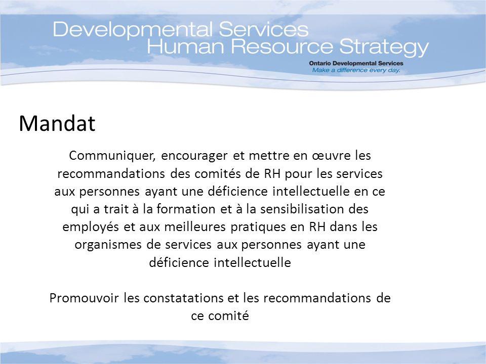 Mandat Communiquer, encourager et mettre en œuvre les recommandations des comités de RH pour les services aux personnes ayant une déficience intellect