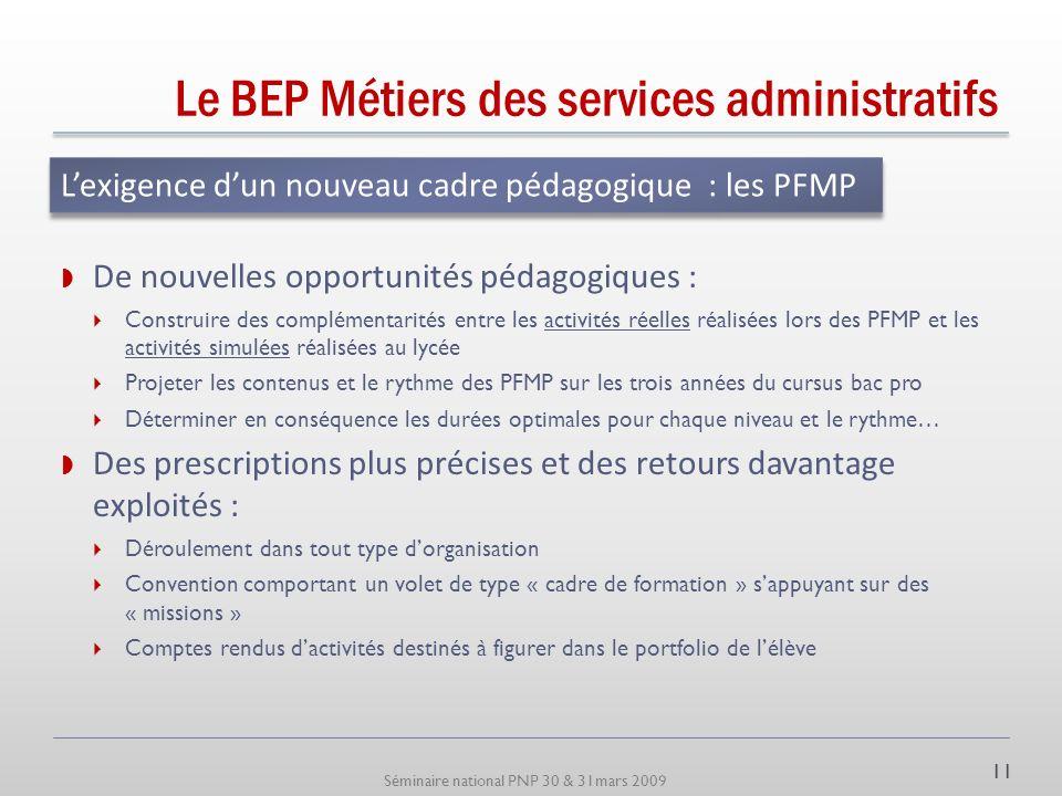 Séminaire national PNP 30 & 31mars 2009 Le BEP Métiers des services administratifs Une structuration très liée au RAP Appui sur la triade : Technique,