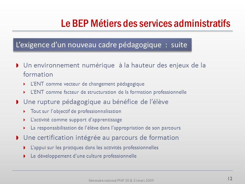 Séminaire national PNP 30 & 31mars 2009 Le BEP Métiers des services administratifs De nouvelles opportunités pédagogiques : Construire des complémenta