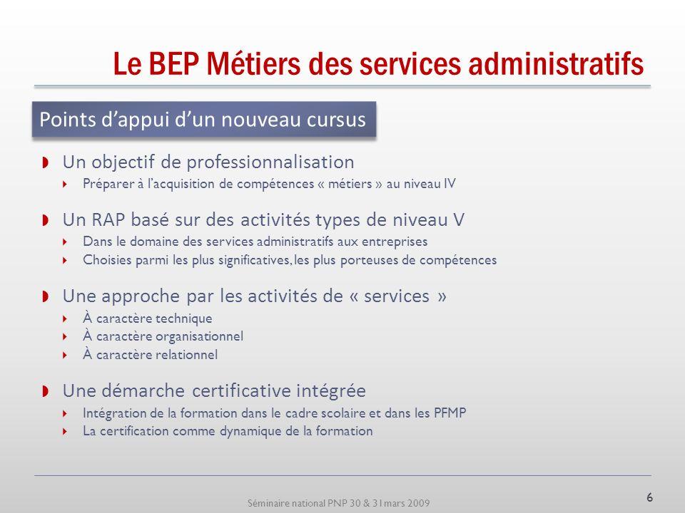 Séminaire national PNP 30 & 31mars 2009 Le BEP Métiers des services administratifs La nouvelle nomenclature du ROME de lANPE Répertoire opérationnel d