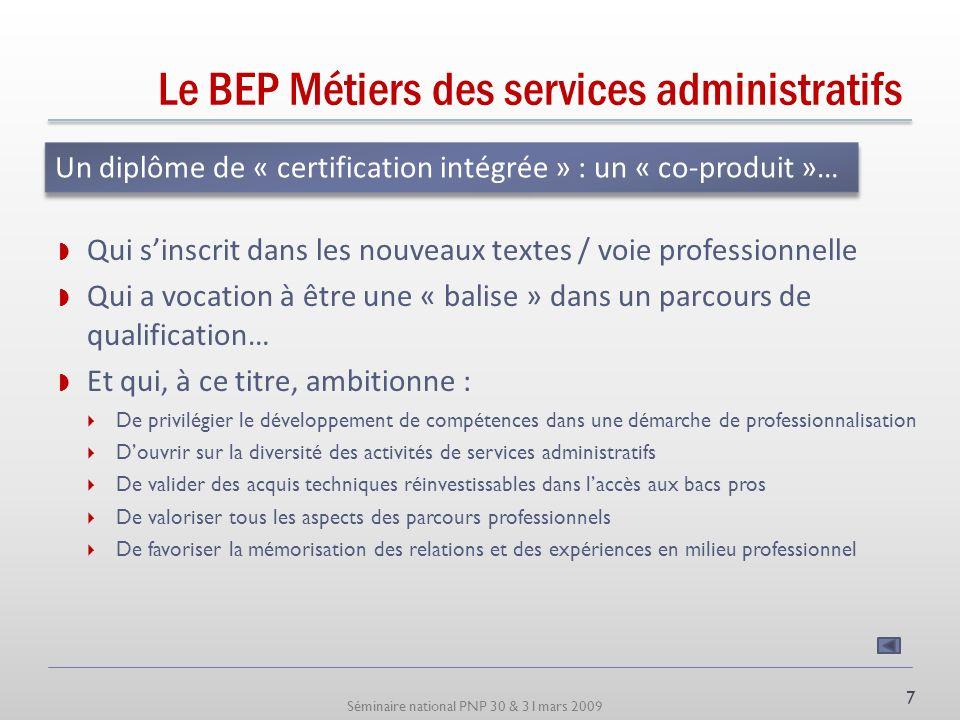 Séminaire national PNP 30 & 31mars 2009 Le BEP Métiers des services administratifs Un objectif de professionnalisation Préparer à lacquisition de comp
