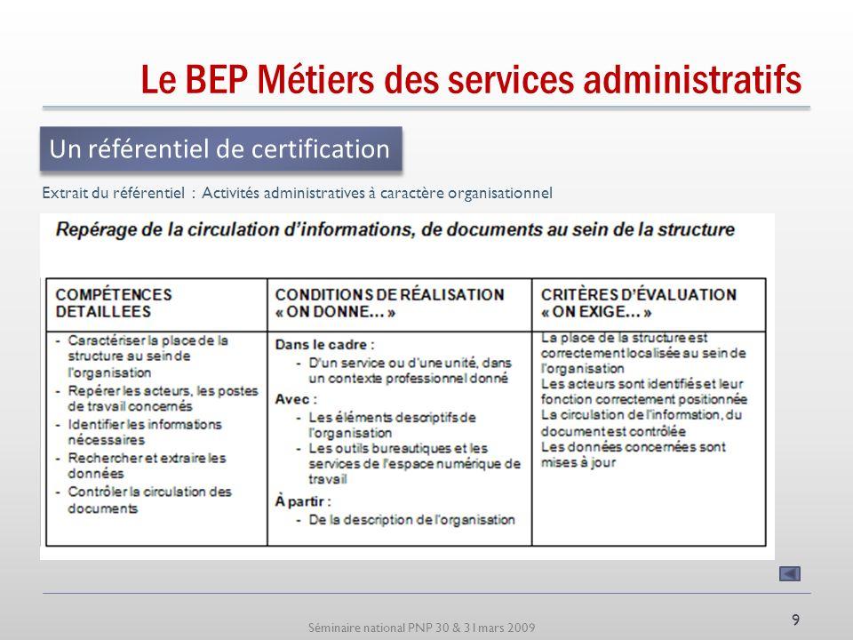 Séminaire national PNP 30 & 31mars 2009 Le BEP Métiers des services administratifs Qui propose une structuration en 3 types dactivités Un référentiel des activités professionnelles 8