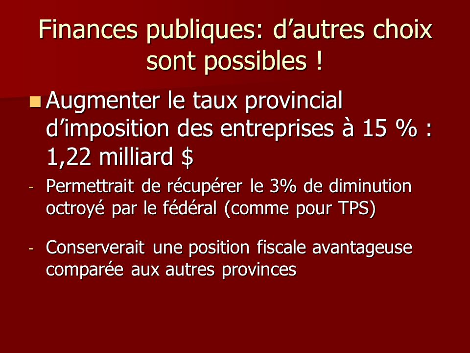 Finances publiques: dautres choix sont possibles ! Augmenter le taux provincial dimposition des entreprises à 15 % : 1,22 milliard $ Augmenter le taux