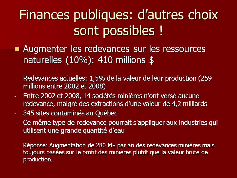 Finances publiques: dautres choix sont possibles ! Augmenter les redevances sur les ressources naturelles (10%): 410 millions $ Augmenter les redevanc