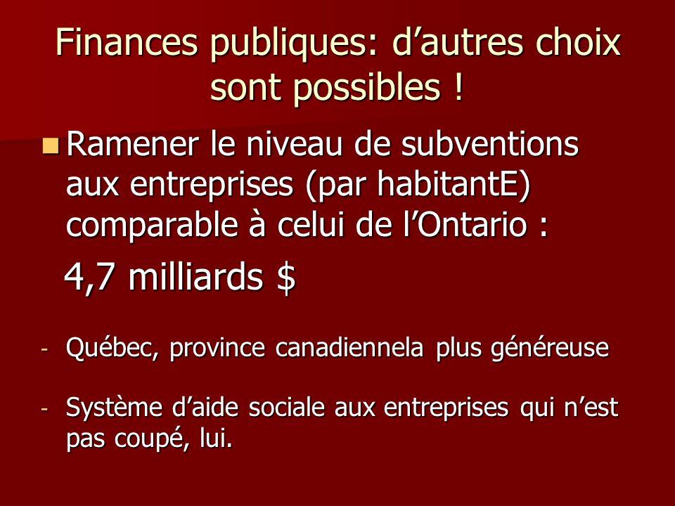 Finances publiques: dautres choix sont possibles ! Ramener le niveau de subventions aux entreprises (par habitantE) comparable à celui de lOntario : R