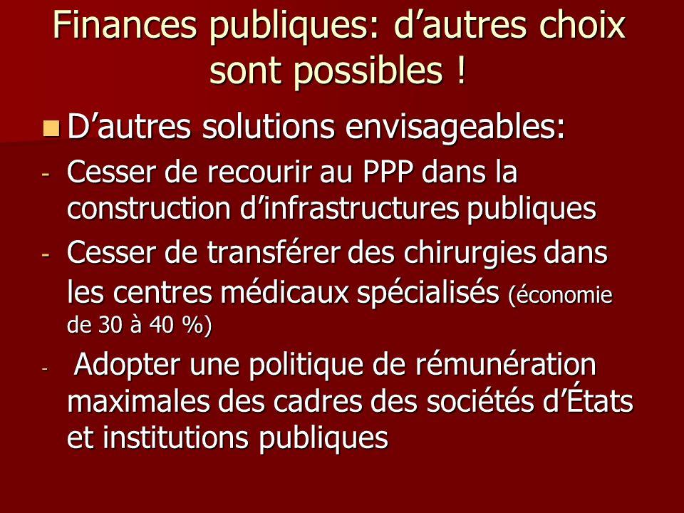 Finances publiques: dautres choix sont possibles ! Dautres solutions envisageables: Dautres solutions envisageables: - Cesser de recourir au PPP dans