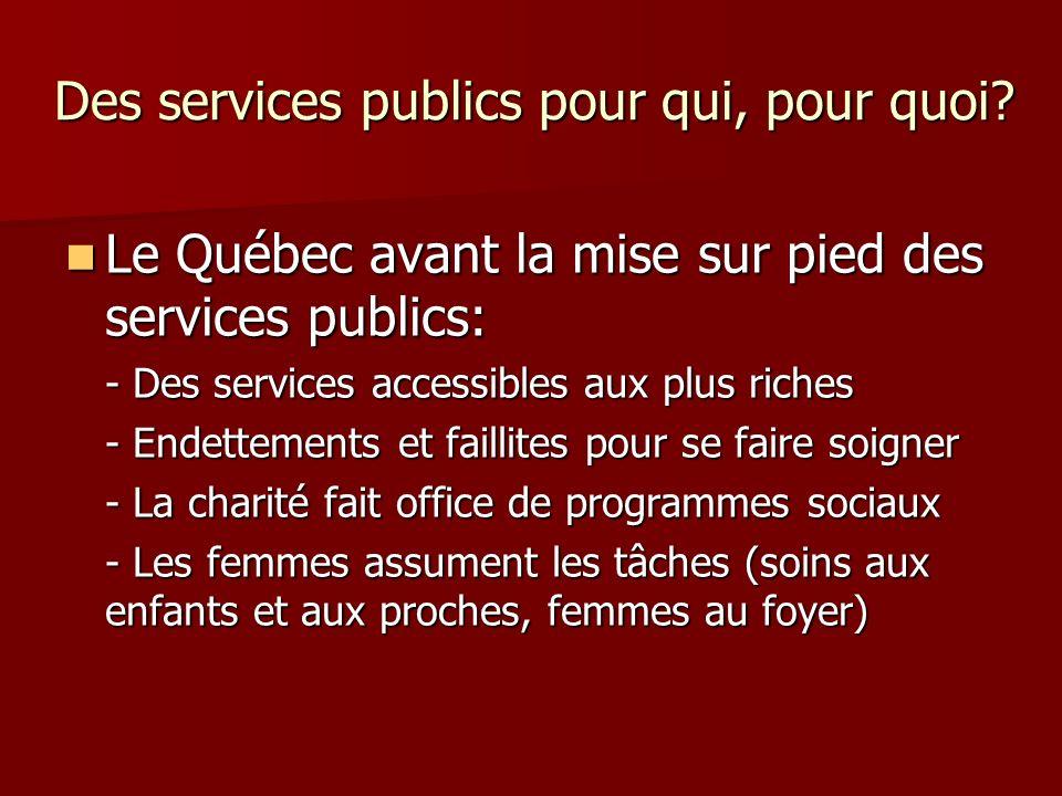 Des services publics pour qui, pour quoi.À qui ont profité les services publics.