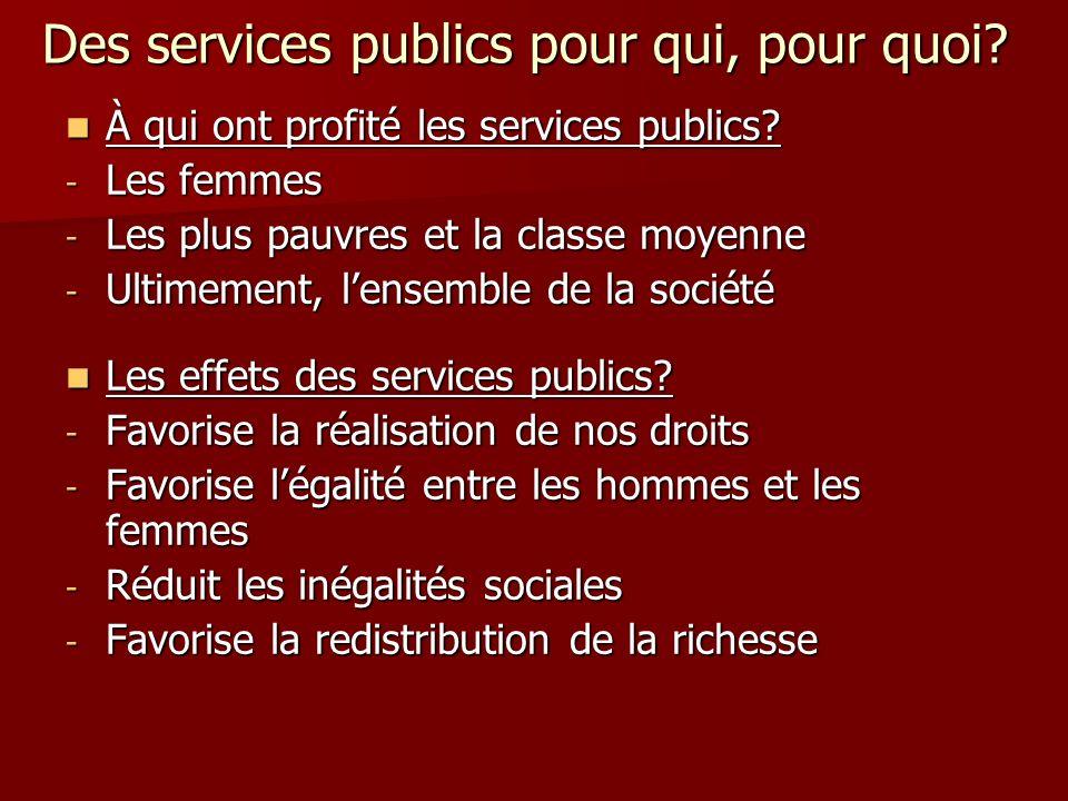 Des services publics pour qui, pour quoi. À qui ont profité les services publics.