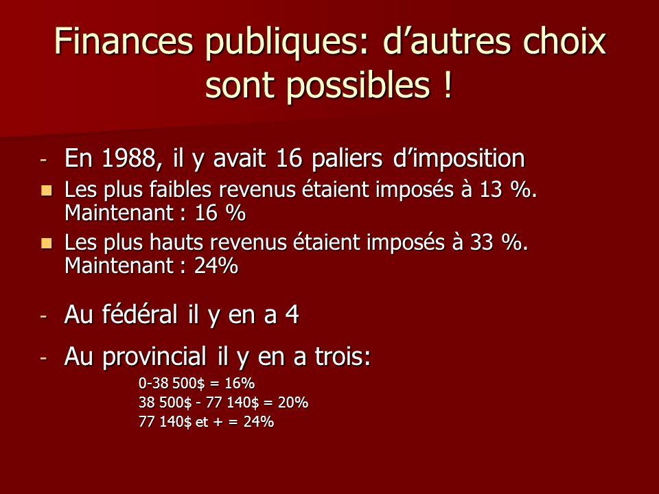 Finances publiques: dautres choix sont possibles ! - En 1988, il y avait 16 paliers dimposition Les plus faibles revenus étaient imposés à 13 %. Maint
