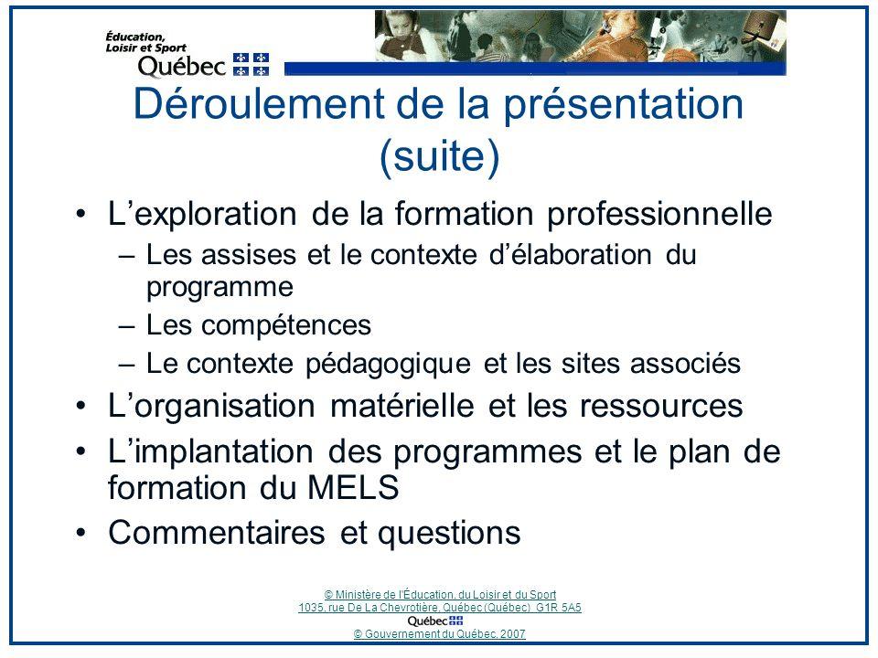 © Ministère de l Éducation, du Loisir et du Sport 1035, rue De La Chevrotière, Québec (Québec) G1R 5A5 © Gouvernement du Québec, 2007