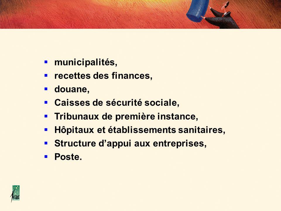 municipalités, recettes des finances, douane, Caisses de sécurité sociale, Tribunaux de première instance, Hôpitaux et établissements sanitaires, Stru
