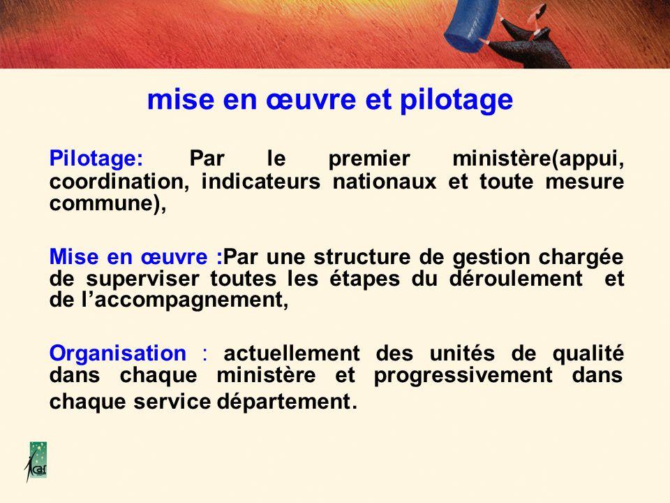 mise en œuvre et pilotage Pilotage: Par le premier ministère(appui, coordination, indicateurs nationaux et toute mesure commune), Mise en œuvre :Par u