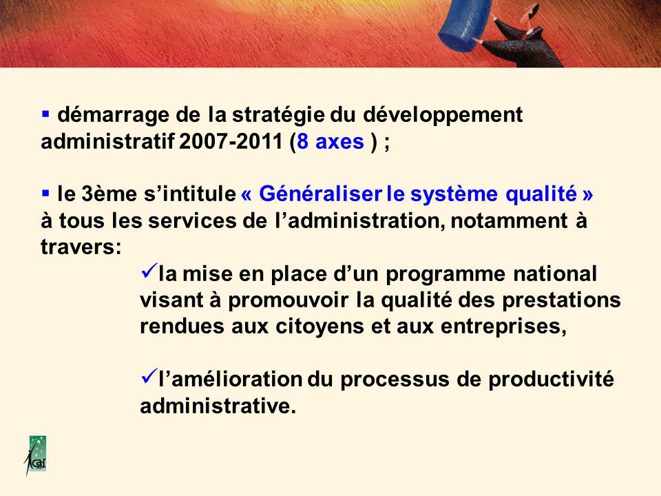démarrage de la stratégie du développement administratif 2007-2011 (8 axes ) ; le 3ème sintitule « Généraliser le système qualité » à tous les service