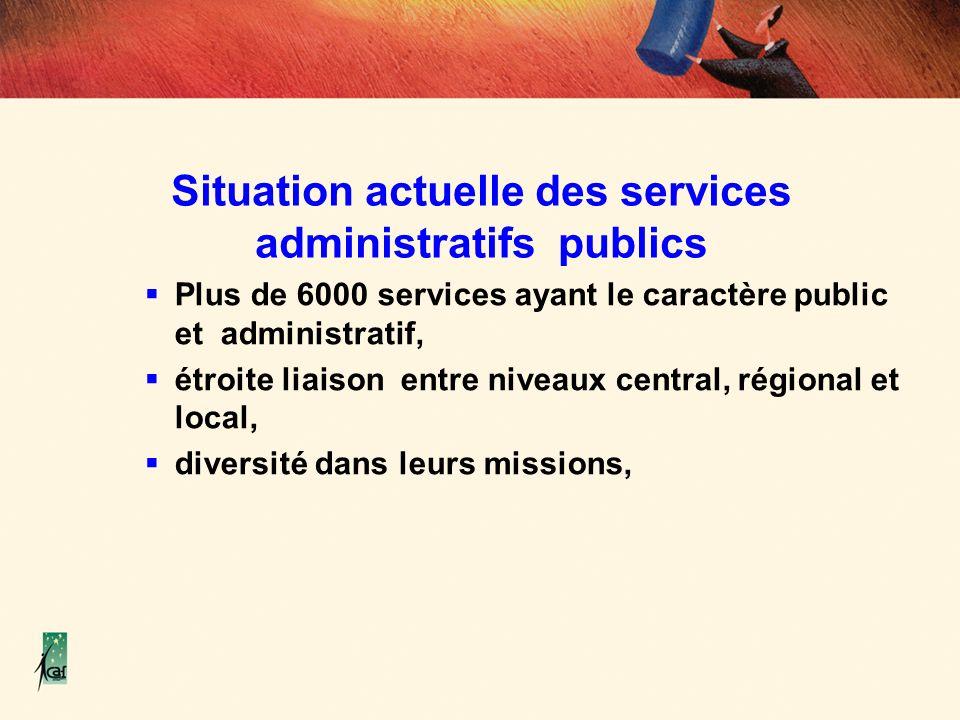 Situation actuelle des services administratifs publics Plus de 6000 services ayant le caractère public et administratif, étroite liaison entre niveaux