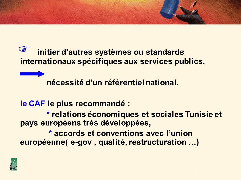 initier dautres systèmes ou standards internationaux spécifiques aux services publics, nécessité dun référentiel national. le CAF le plus recommandé :