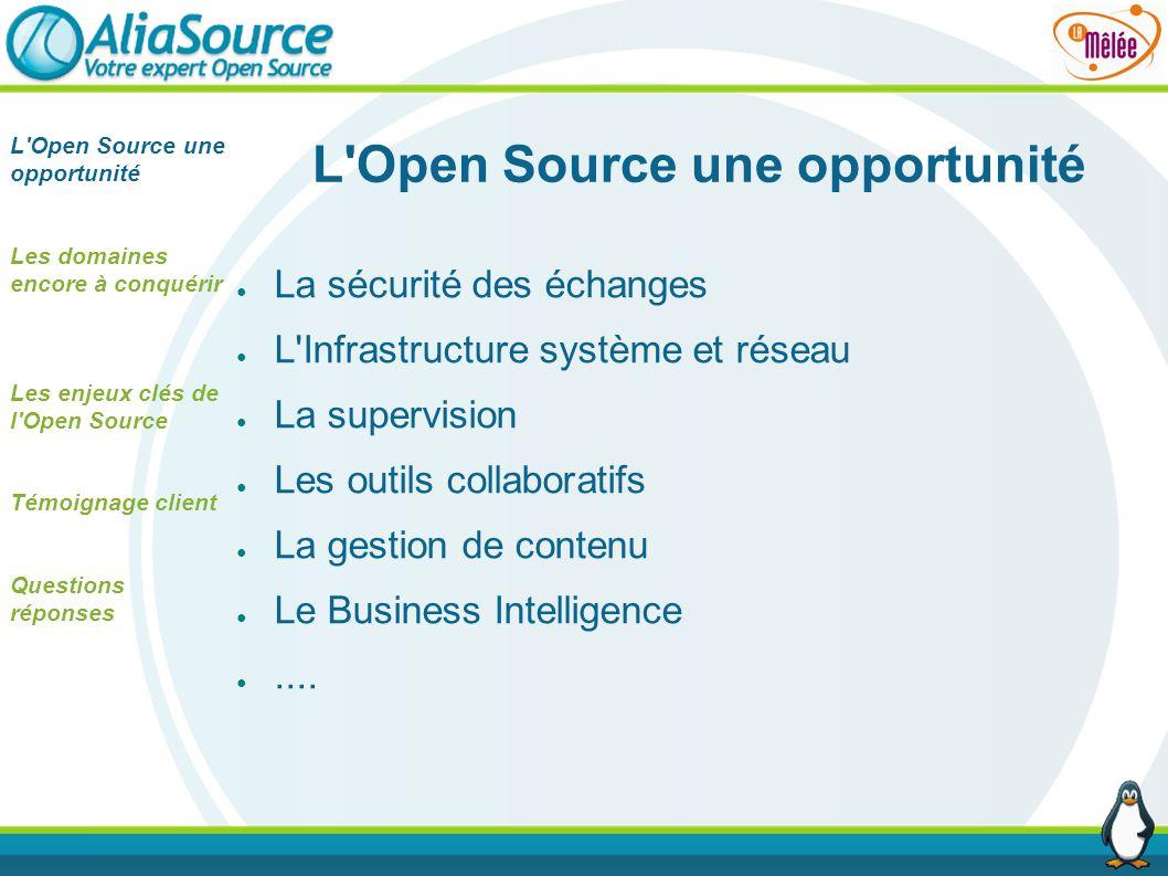 L'Open Source une opportunité La sécurité des échanges L'Infrastructure système et réseau La supervision Les outils collaboratifs La gestion de conten