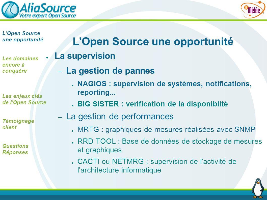 L'Open Source une opportunité La supervision – La gestion de pannes NAGIOS : supervision de systèmes, notifications, reporting... BIG SISTER : verific
