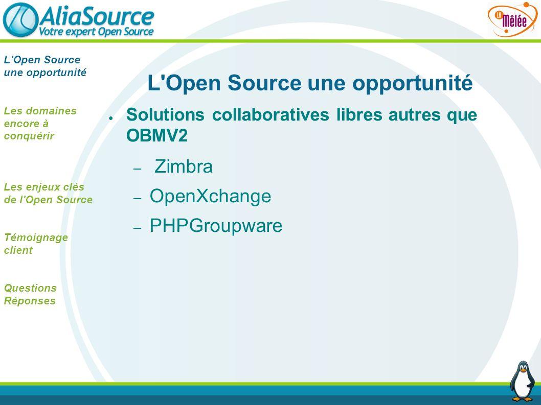 Solutions collaboratives libres autres que OBMV2 – Zimbra – OpenXchange – PHPGroupware L'Open Source une opportunité Les domaines encore à conquérir L
