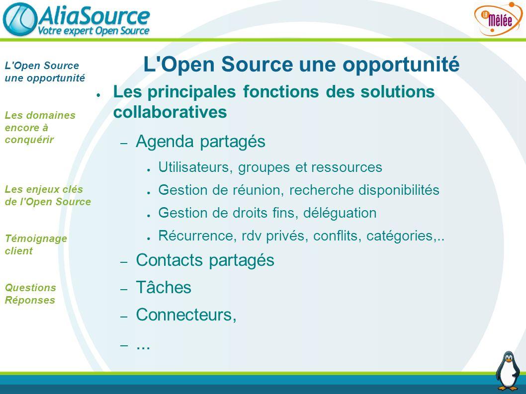 L'Open Source une opportunité Les principales fonctions des solutions collaboratives – Agenda partagés Utilisateurs, groupes et ressources Gestion de