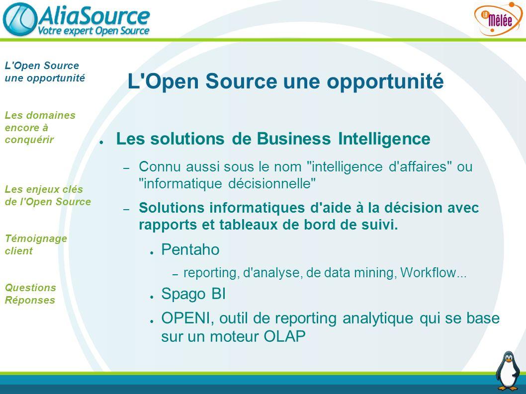 L'Open Source une opportunité Les solutions de Business Intelligence – Connu aussi sous le nom